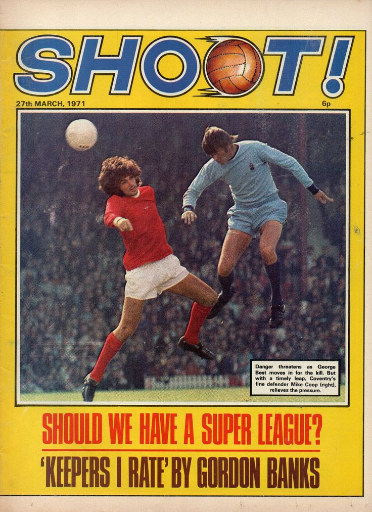 Shoot! magazine for March 1971 featuring Man Utd v Coventry City on the cover.