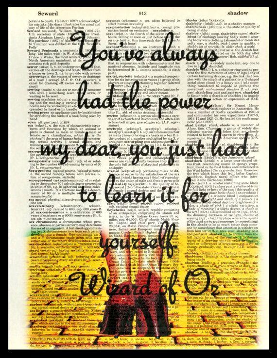 W of Oz-Always had the power. Dictionary Art by FancyPantsPrintsCo