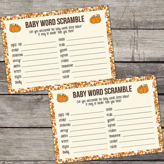 Baby Word Scramble Game Baby Shower Game - Pumpkin Baby Shower Games - Little Pumpkin - Lil Pumpkin 191