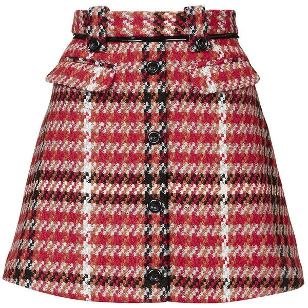 TOPSHOP Check Vinyl Skirt ($85) ❤ liked on Polyvore featuring skirts, topshop, red, red skirt, knee length a line skirt, red checkered skirt, red a line skirt and vinyl skirting