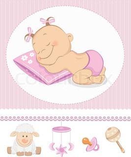 tatlı kız varış duyuru Sleeping. bebek oyuncakları ile fotoğraf çerçevesi   vektör   Colourbox on Colourbox