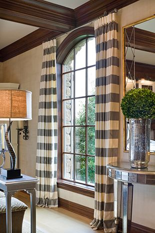 Brown/gray stain + drapes. Joy Tribout Interior Design.
