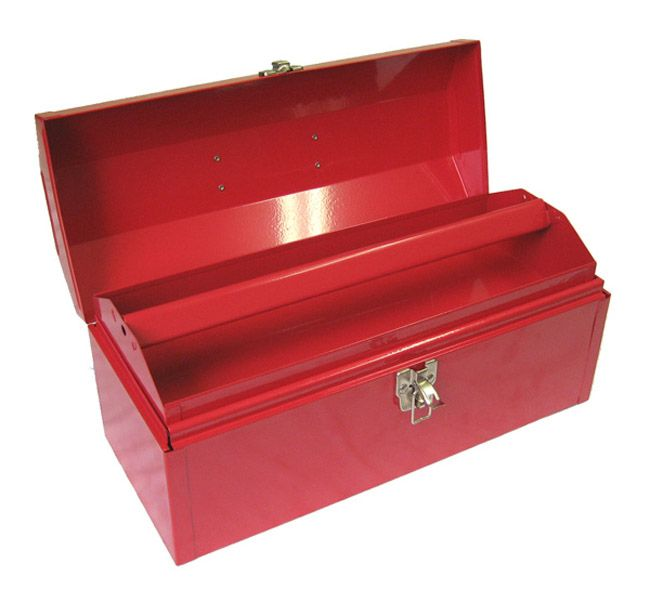 Portable Steel Tool Box With One Metal Tray, One Latch, Comfort Grip Handle,