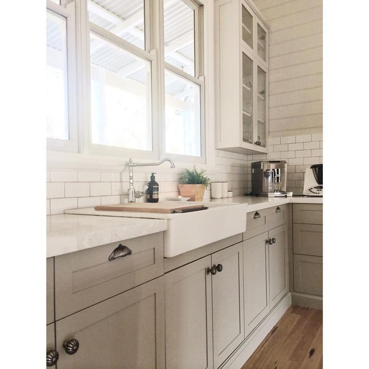 Our Kitchen. Not only love cooking in here but kitchens are nowadays for entertaining kitchen inspo interior design my country home decor kitchen design grey timber kitchen stone bench tops farm style sink