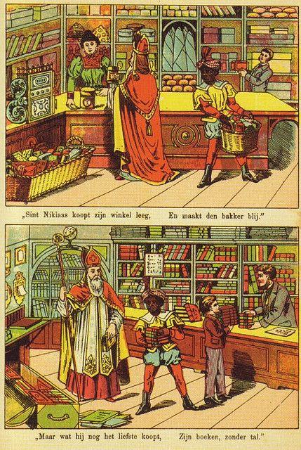 Vintage plaat van Sinterklaas