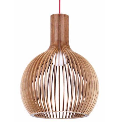 Geometric Orb 230mm Plywood Pendant Light