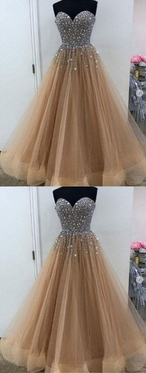 Incredibly Champagne tulle beaded long prom dress, evening dress by MeetBeauty, $193.86 USD