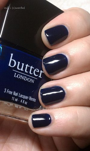 "Such a royally beautiful color. ""Butter Nail Polish in Royal Navy"": perfect for the Fall and Winter seasons."