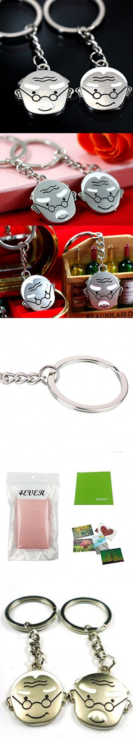 4EVER Love Life Together Old Man Elderly Couple Keychains (With Gift Box and Greeting Card) Key Chain Gift for Valentine Wedding Anniversary (A Pair)