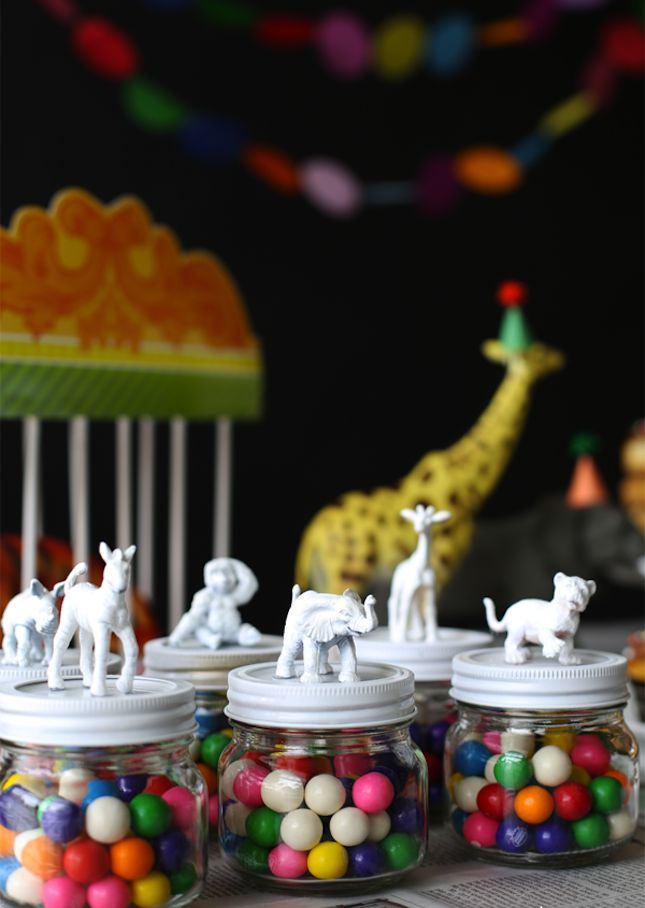 Paint animal figurines, glue on lids, and spray paint. Make for candy jar party favors or prizes.