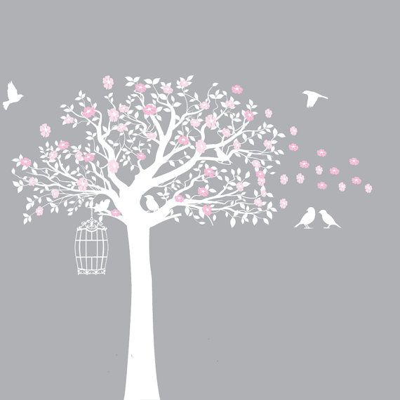 Flower Tree Vinyl Wall Decal Tree with Birds by wallartdesign, $99.00