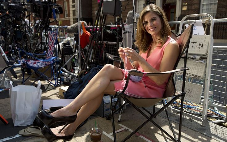 NBC Today Show news reporter Natalie Morales is photographed knitting between broadcasts