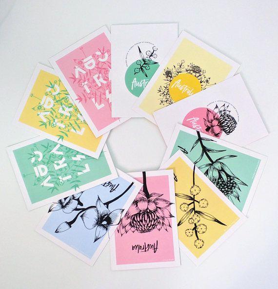 Postcard set of 10 Australia art print hand drawn flower