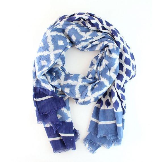 Rose & Rose Block Print Scarf / Sarong - Blue