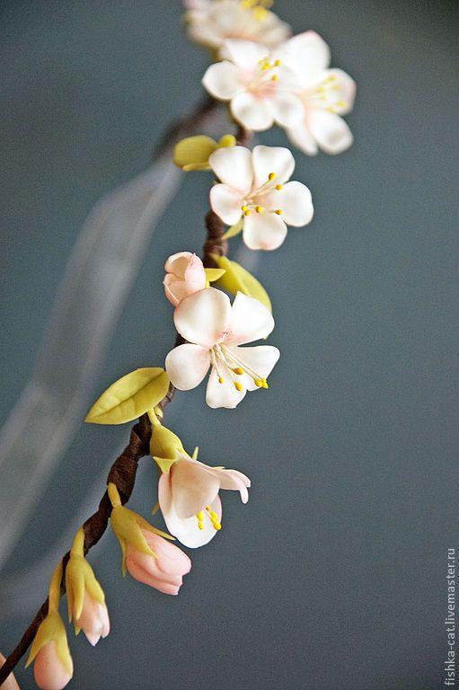 """Купить Венок на голову """"Дикая яблоня"""". Белые цветы в волосы - белый, венок, венок из цветов"""