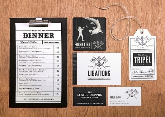 #print #design #black #white #vintage #restaurant #menu