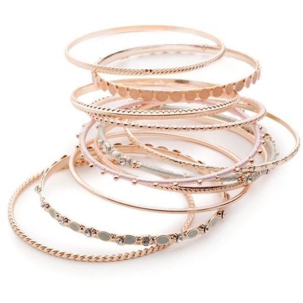 Red Camel Rose Gold Rose Gold-Tone Make Me Blush 9-Piece Bangle... ($14) ❤ liked on Polyvore featuring jewelry, bracelets, rose gold, bracelets bangle, bangle bracelet, bangle jewelry, hinged bangle and rose gold jewellery