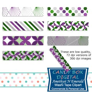 These soothing jewel tones of amethyst and emerald give a feeling of richness to this set of digital washi tape. Great for embellishing your digital pictures, scrapbooks, journals, blogs and websites!