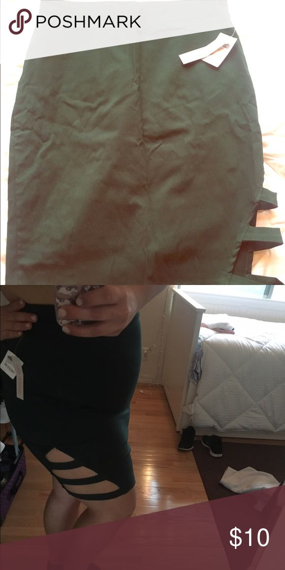 Green Going Out Skirt Never worn green going out skirt, new with tags! Slits on one side Charlotte Russe Skirts Mini