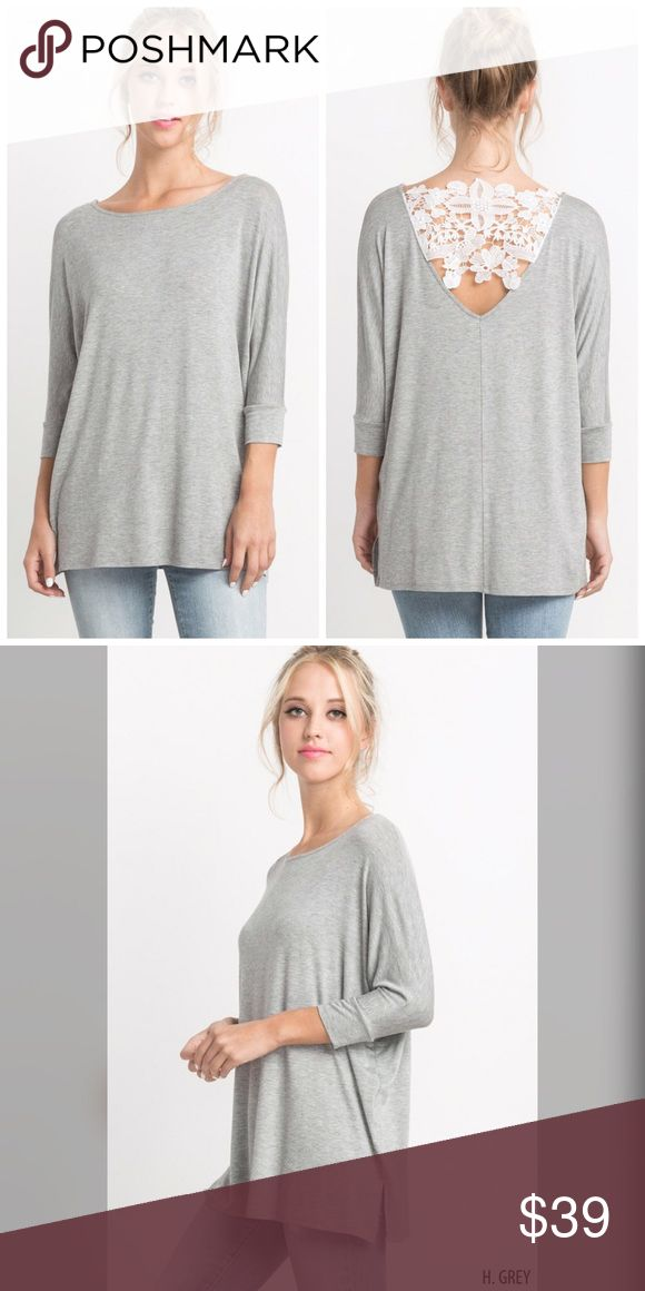 AVAILABLE Crochet back 3 qtr sleeve top! Gorgeous in Heather gray and white- I love the detail in this piece- casual and beautiful Tops
