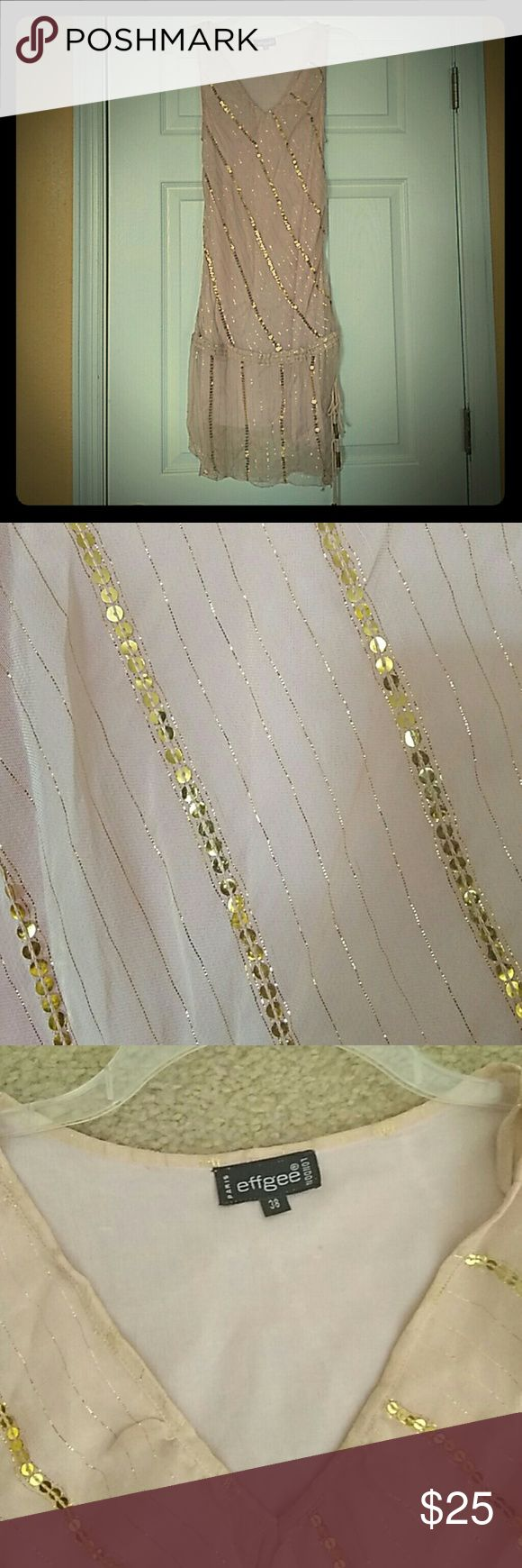ELEGANT Dress...A Little European Razamataz Gold spangled sequins on pale pink . Fully lined. Euro size 38. Dresses Midi