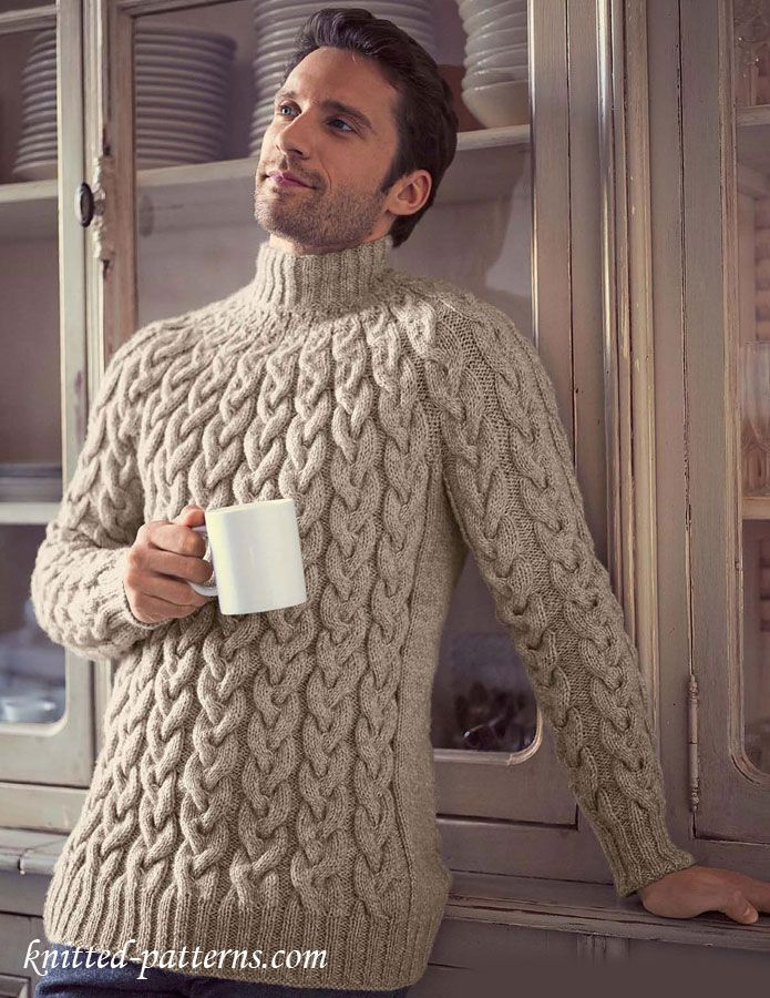 Top-down cable sweater knitting pattern