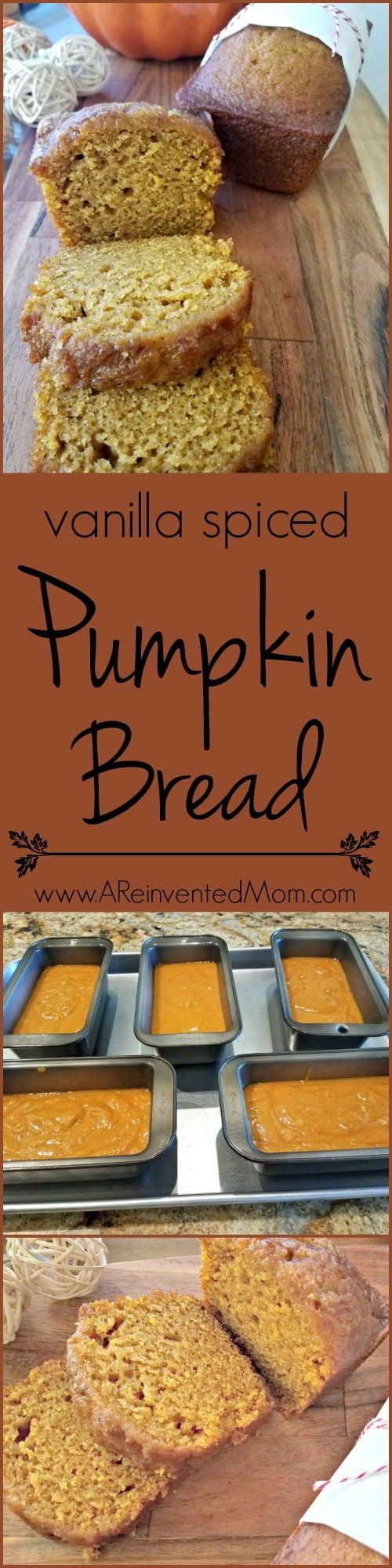 Looking to jazz up your Thanksgiving bread basket or dessert table? A batch of Vanilla Spiced Pumpkin Bread should do the trick | A Reinvented Mom via @areinventedmom
