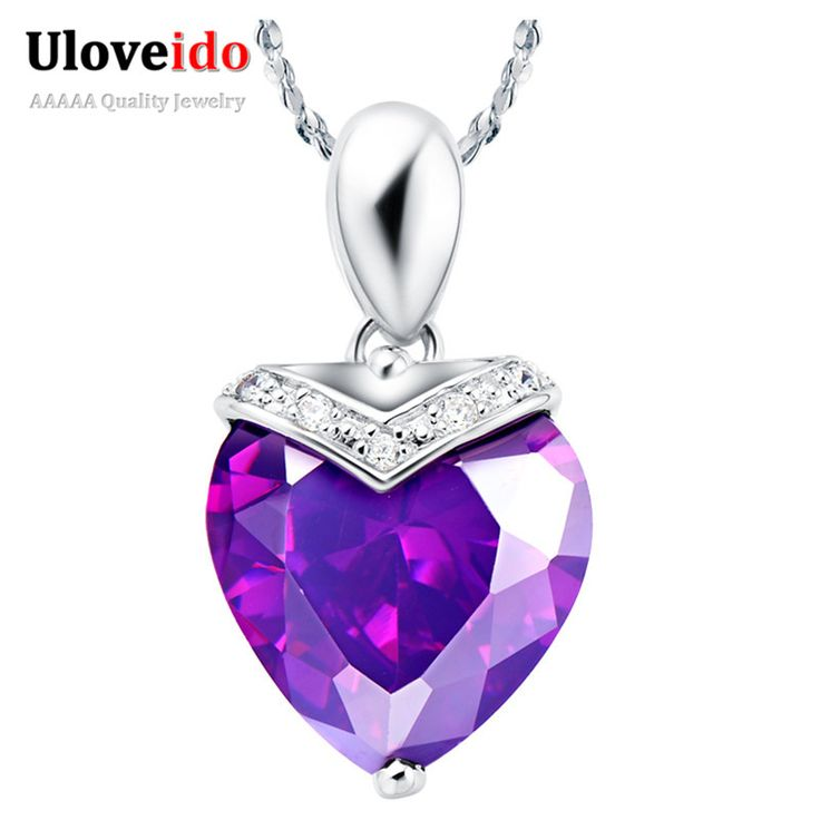 Find More Pendants Information about Silver 925 Women Necklaces Pendants Purple and Red Imitation Diamond Jewelry Heart Shape Bijoux Collier Femme Ulove N547,High Quality pendant base,China pendant women Suppliers, Cheap pendant cameo from Ulovestore Jewelry on Aliexpress.com
