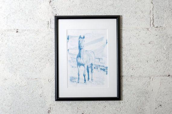 Horse photography, child room decor, horse nursery  #cyanotype #print #art #artdeco #walldeco #cottagedeco #horse #childroom #nurseryroom