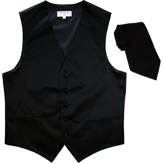 120.12 kr. Men's Solid Black Polyester Vest with Self Tie by luenshing