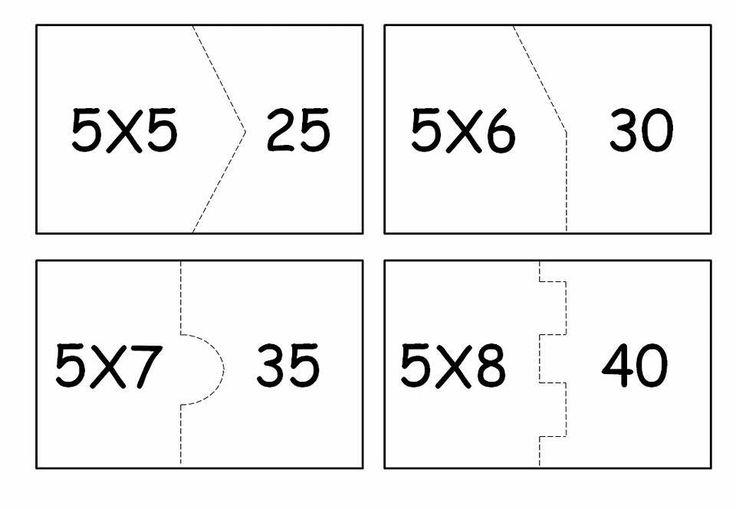 Quebra-cabeça da multiplicação para imprimir: Tabuada do 5.