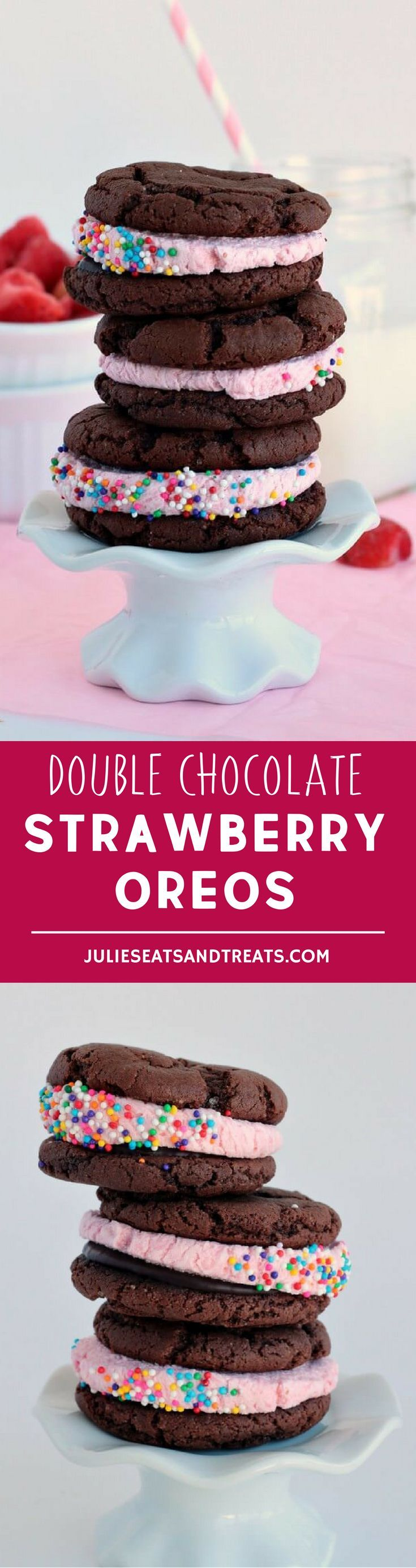 Double Chocolate Strawberry Oreos – super easy cake mix cookies filled with strawberry chocolate ganache and strawberry frosting. Perfect for Valentine's Day! More homemade and made from scratch recipes from @julieseats
