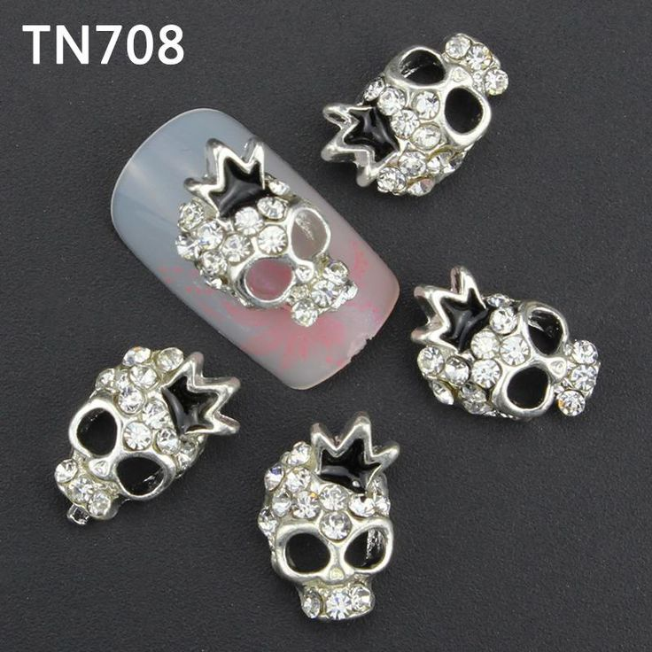 10Pcs Luxury Silver Skull Nail Tools Rhinestones For Nails Alloy Glitters DIY 3D Nail Art Decorations TN708