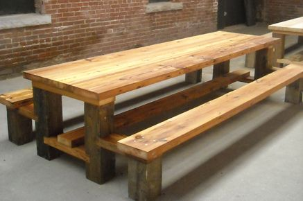outdoor Picnic Table.Reclaimed Wood.Hemlock copy by timberandbeam, via Flickr