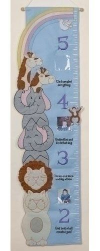 "Kid's Fabric Growth Chart With Photo Slots 49.5"" by Roman. $24.99. Kid's Growth Chart With Photo Slots From The God Created Everything Collection, By Roman Inc. Item #47739Dimensions: 49.5""H x 13.5""W x 0.25""DThere are 3 slots for photos, each slot holds one 3"" x 3"" photoMaterial(s): Polyester / Wood / PVC"