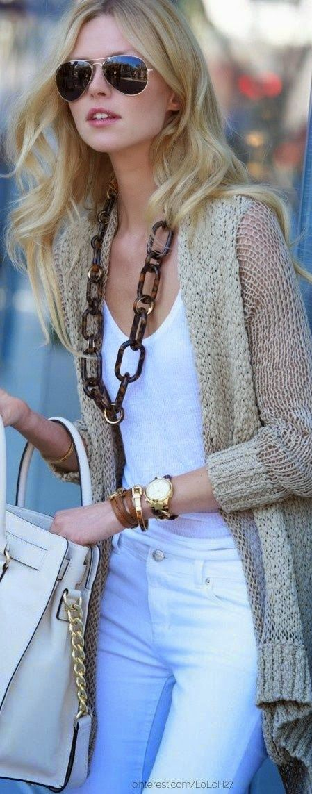 Latest fashion trends: Street style | Spring outfit, neutral cardigan, chain necklace, handbag