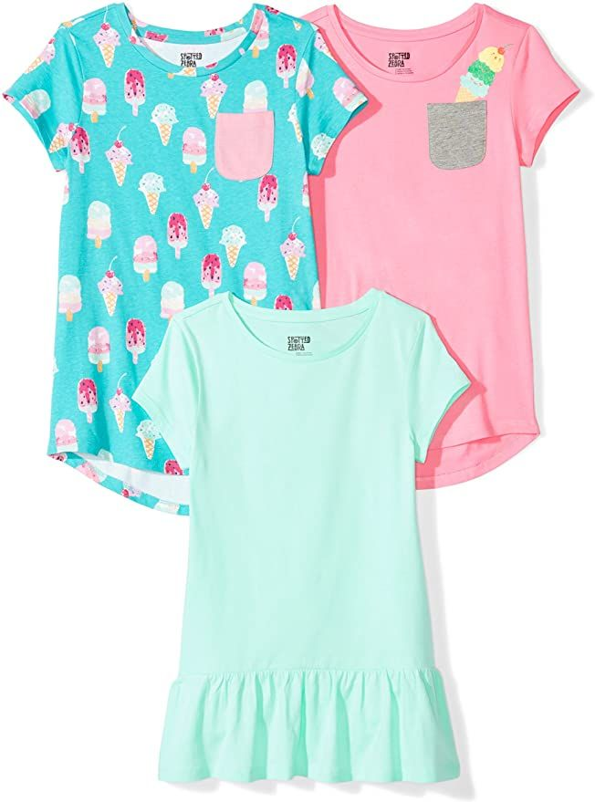 Spotted Zebra girls 3-pack Short Sleeve Tunic T-Shirt