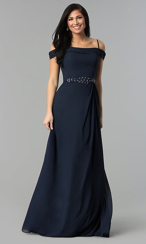 72c912275f9c Long Off-Shoulder Chiffon Prom Dress with Cowl Back in 2019 ...
