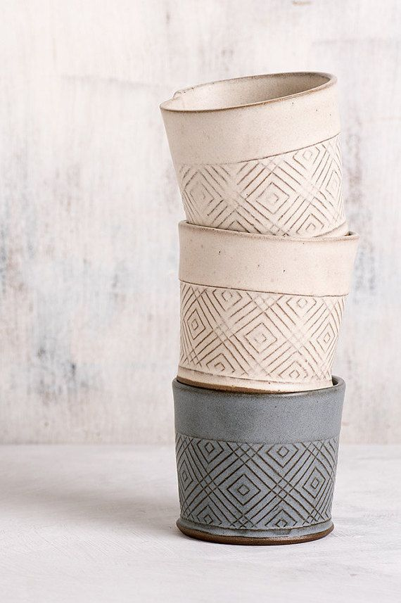 Ceramic Espresso Cup, Coffee lovers gift , Modern Espresso Cups in white Geometric Pattern, Ceramic white tumbler, Chocolate cup.  Modern tea cups,