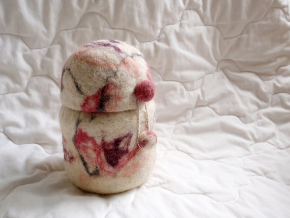 Wool pink marble   Jewelry Felted Box by ThePrimordialSheep, $40.00