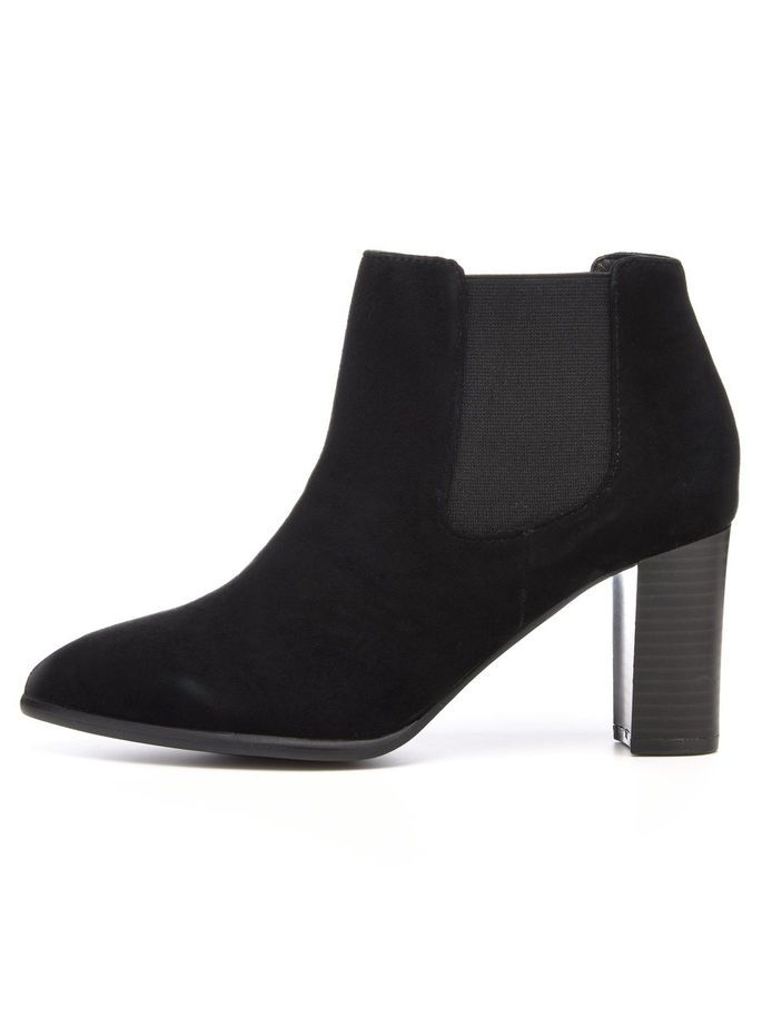 POINTY SUEDE CHELSEA BOOTS, Black, large