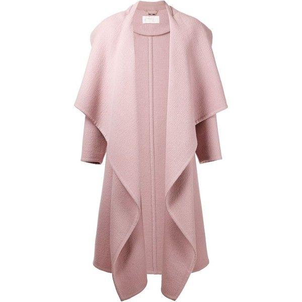 Chloé draped front coat (16 495 LTL) found on Polyvore featuring outerwear, coats, jackets, casacos, coats & jackets, oversized coat, long sleeve coat, pink coat and chloe coat