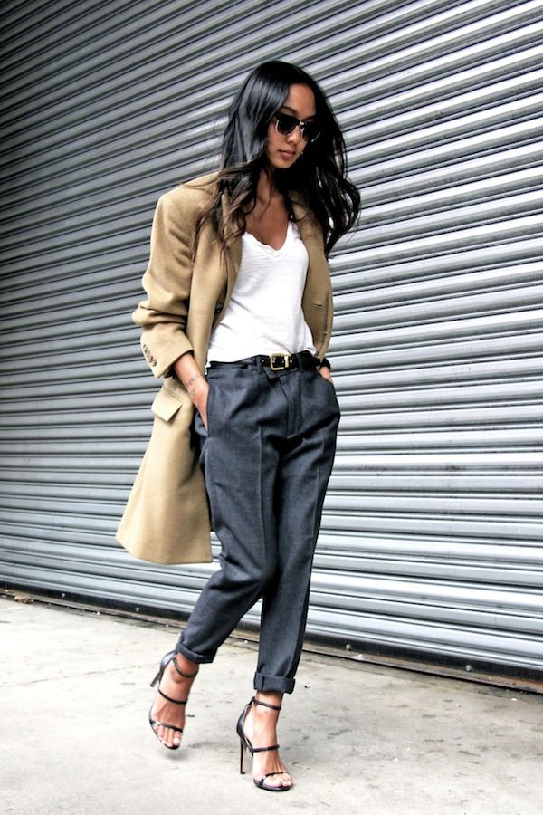 camel coat, white top, grey cropped pants & strappy heeled sandals #style #fashion #workwear #fallstyle