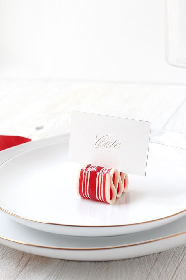 candy ribbon place card holder