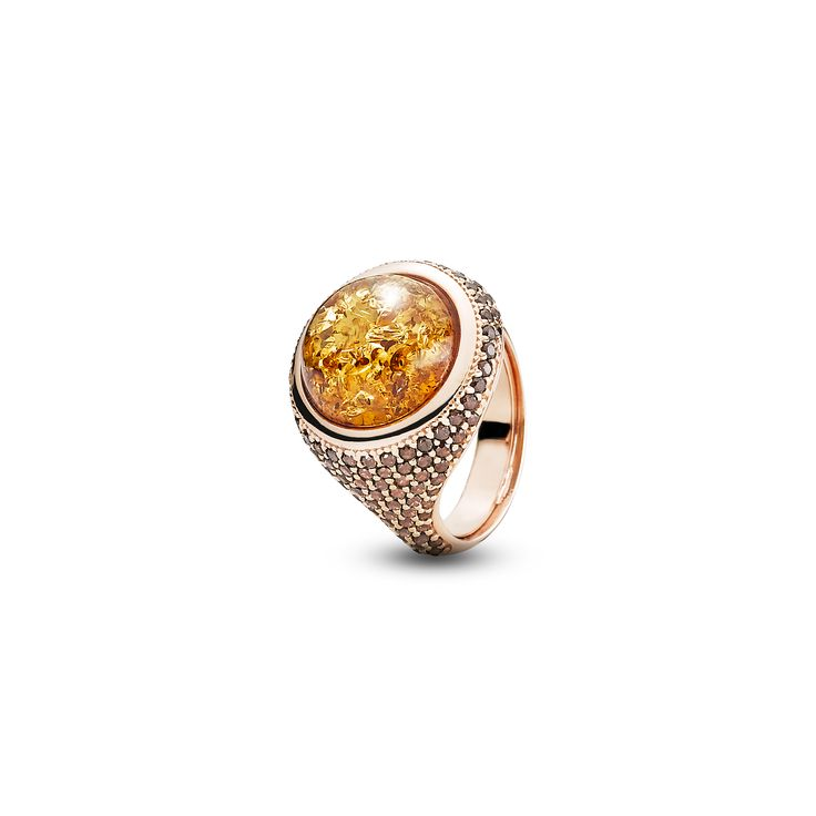 House of Amber - A ring in rose gold sterling silver, cognac amber, and zirconia. This elegant ring is a part of the Enlightened Enamel Collection.