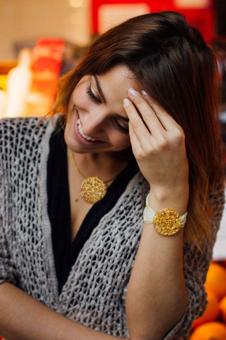 Gold leaf pendant and bracelet