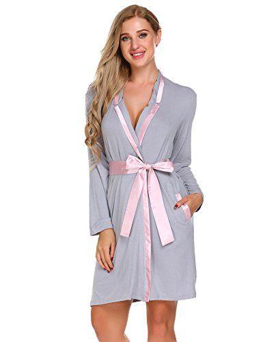 1341f9e9b8 L'amore Womens Cotton Long Sleeve Kimono Bathrobes for Loungwear | fashion  style | Cotton kimono, Short gown dress, Kimono robe