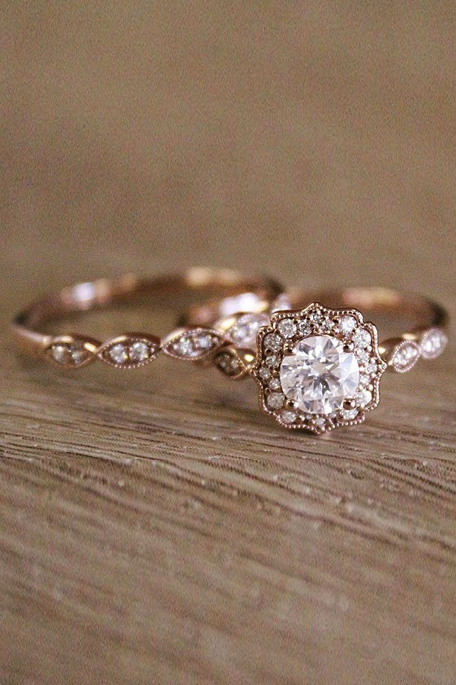 Vintage Wedding Rings For Brides Who Love Classic ❤ vintage wedding rings rose gold halo round cut diamond ❤ More on the blog: https://ohsoperfectproposal.com/vintage-wedding-rings/ #WeddingRing #GoldJewelleryFormal #GoldJewelleryBride #weddingringsforbride