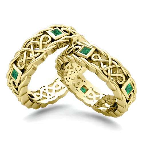 Обручальные кольца Кельтские с изумрудами
