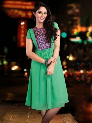 Sea Green Georgette Tunic With Resham Embroidery Work
